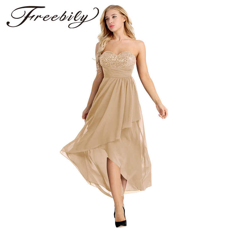 9ea839cad50c0 Freebily New Women Sweetheart Strapless Chiffon Long Dress Asymmetric  Chiffon Elegant Sequins Bridesmaid Maxi Dress Built