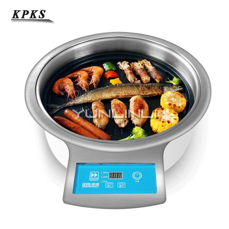 Gril de Barbecue sans fumée 2000 W plaque de cuisson électrique commerciale avec contrôle numérique Intelligent poêle à Barbecue DT31