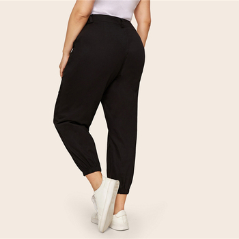 Plus Size Black Pocket Side Solid Cropped Pants