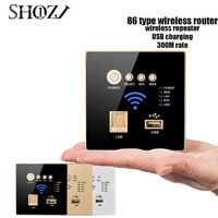 SMART HOME WiFi Repeater USB LAN 3G 300M Wall Embedded AP Wireless WIFI Router Wall Socket Panel SHOJZJ