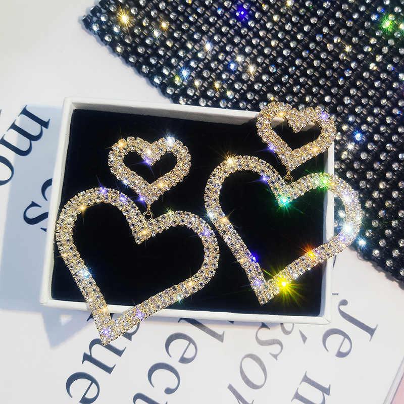 DREJEW אופנה סגול אהבת לב עגילי הצהרת סטי 2019 925 סגסוגת ריינסטון Drop עגילים לנשים תכשיטי חתונה HE877