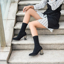 Spring Autumn Women Butterfly-knot Chelsea Boots Slip-On Med High Heels Pointed Toe Shoes Woman