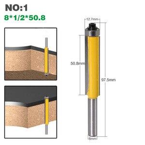 """Image 3 - Ponteira de borracha de 2 """"1 peça, 8mm, haste nivelada, broca roteadora com rolamento para modelo de madeira, bico de carboneto de tungstênio cortador de fresagem para madeira 02017"""