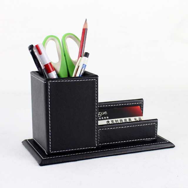 Marvelous Wood Structure Leather Desk Pen Box With Name Card Holder Office Stationery  Accessories Organizer Desk Top