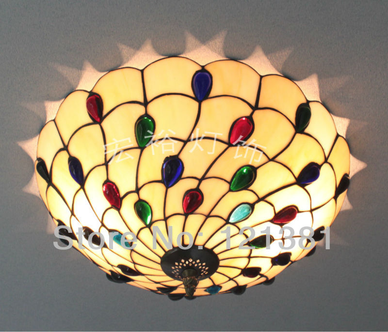 Elegant Tiffany Style Peacock Ceiling Lamp Bedroom Stained