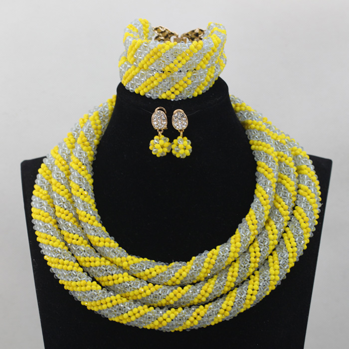 Nigerian Wedding African Beads Yellow/Lilac Chunky Statement Necklace Set Bridesmaid Jewelry Set Free Shipping WD699 new fashion nigerian african wedding coral beads jewelry set chunky statement necklace set full beads free shipping cnr345
