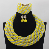 Nigerian Wedding African Beads Yellow Lilac Chunky Statement Necklace Set Bridesmaid Jewelry Set Free Shipping WD699