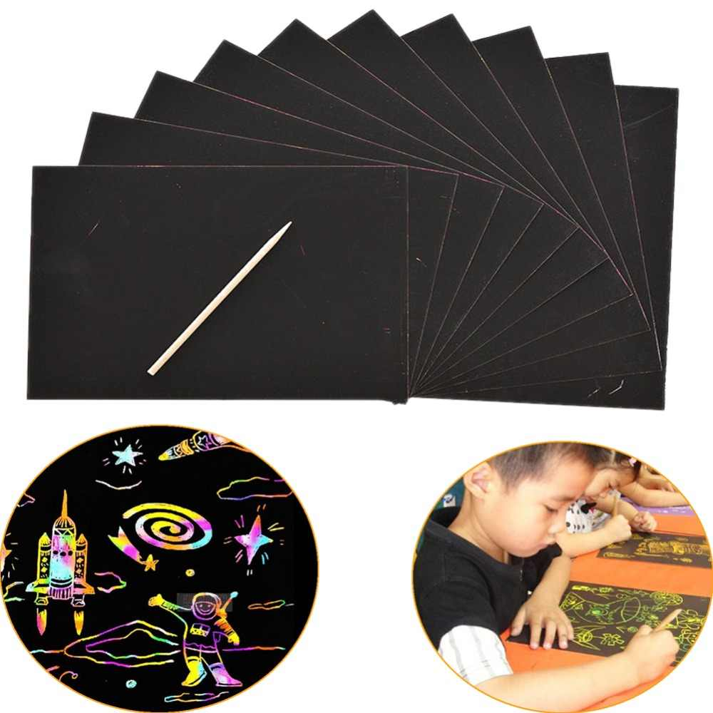 10 PCS Magie Farbe Scratch Kunst Papier Färbung Karten Schaben Zeichnung Spielzeug für Children18x25cm