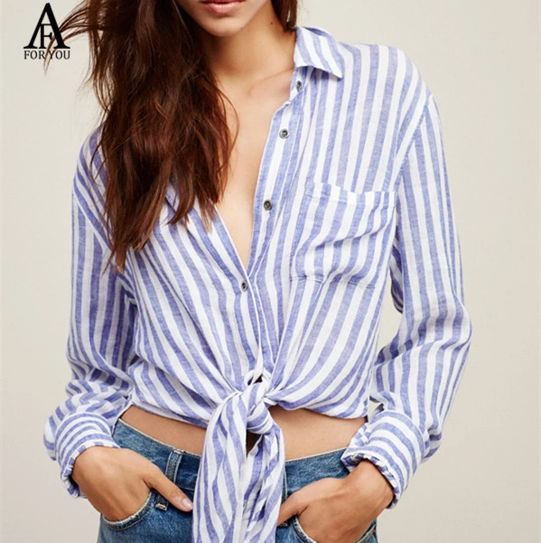 2017 Womens Long Sleeve Crop Top Shirt Button Down Collar