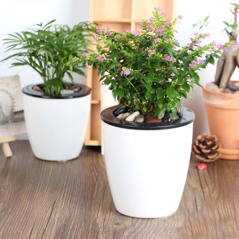 Mkono 3pcs Self Watering Pot Automatic Planter Plant Flower Pots For Desktop Table Floor Garden Office Home Decoration Round In Planters From