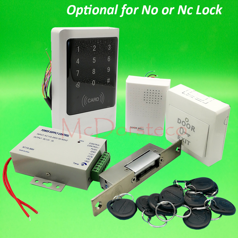 Metal IP65 Waterproof Full 125khz Rfid Door Lock control system Kit Narrow Strike Lock Touch Keypad rfid door Access Control raykube glass door access control kit electric bolt lock touch metal rfid reader access control keypad frameless glass door