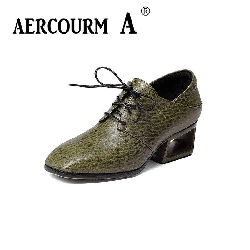 все цены на Aercourm A 2017 Autumn Women Cowhide Shoes Pumps European New Style Cross Lace Up Rivets Stiletto High Heels Shoes Woman H912