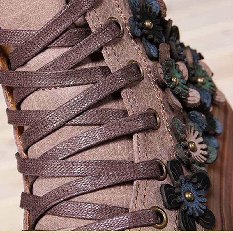 Herfst en winter nieuwe top laag koeienhuid lederen high top skateboard schoenen Sen vrouwelijke art retro platte laarzen-in Enkellaars van Schoenen op  Groep 2