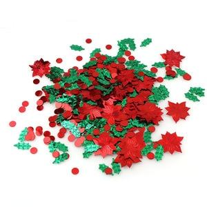 Image 3 - 15 กรัมสีผสมพลาสติกคริสต์มาสสีเขียวใบสีแดงดอกไม้ Confetti Tinfoil Sequins คริสต์มาสของขวัญตกแต่ง