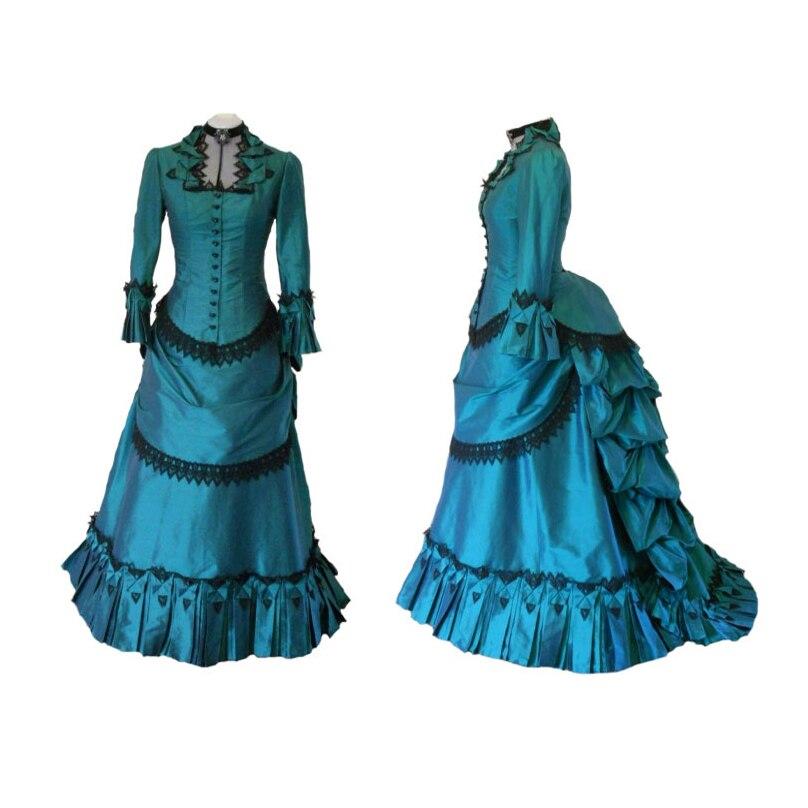 18e Eeuw Franse Noble Stijl Vintage Drukte Handgemaakte Mermaid Victoriaanse Jurken Gown Theatrale Kostuum Jurken