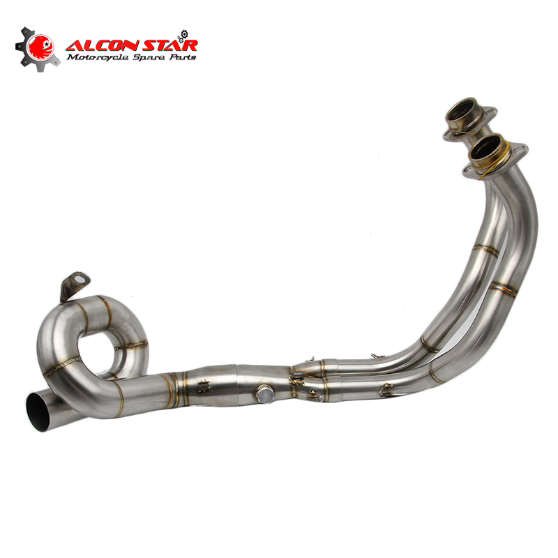 Alconstar- Motorcycle Muffler Exhaust Full System Pipe For Yamaha MT-07 MT07 FZ-07 Header Tube Link Front Exhaust Pipe Racing