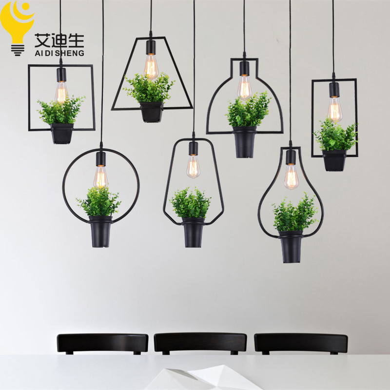 Modern Plant Pot Deco Pendant Lamp Fashion Nordic Shade Modern Dining Table Hanging Light Fixture DIY Luminaire Office Lighting