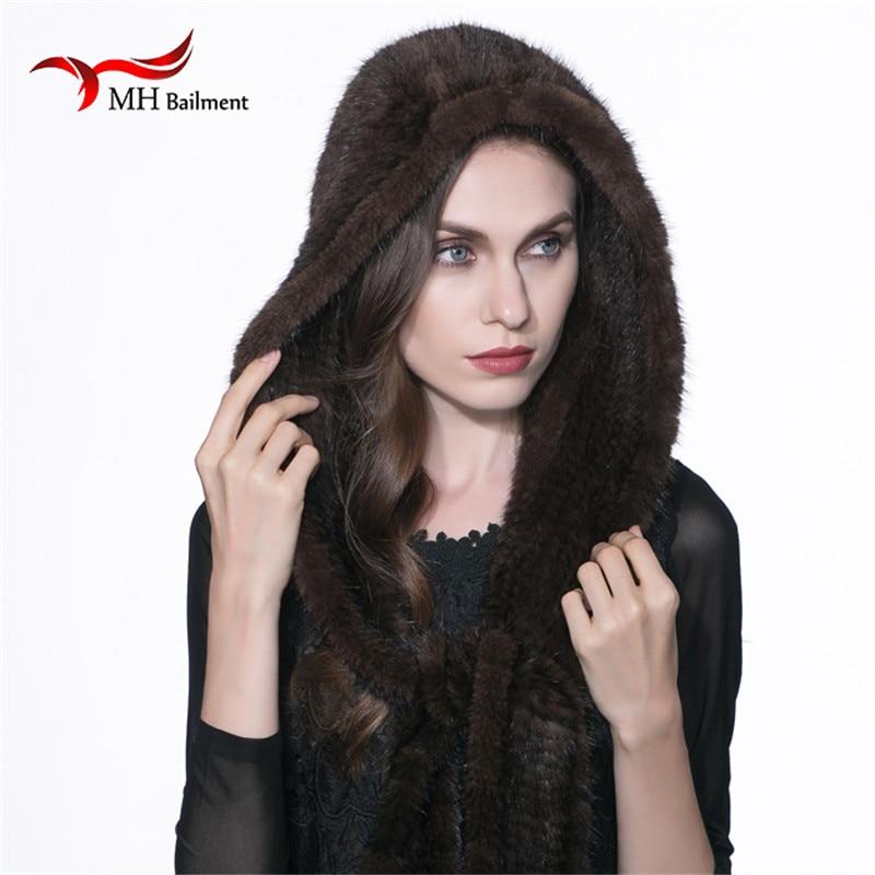 2017 Women Real Mink Fur Scarf Hat Winter Warm Mink Fur Knit Scarf Hat Leisure Ear Russian Brown Scarves Casual witless Cap H#3
