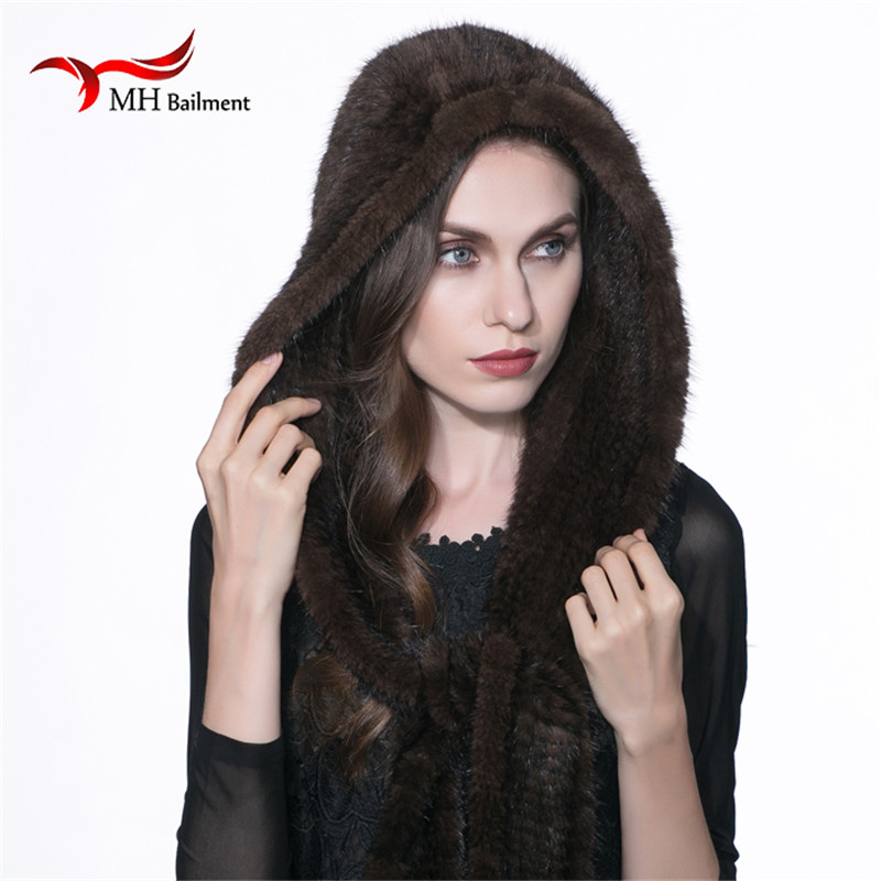2017 Women Real Mink Fur Scarf Hat Winter Warm Mink Fur Knit Scarf Hat Leisure Ear Russian Brown Scarves Casual witless Cap H#3