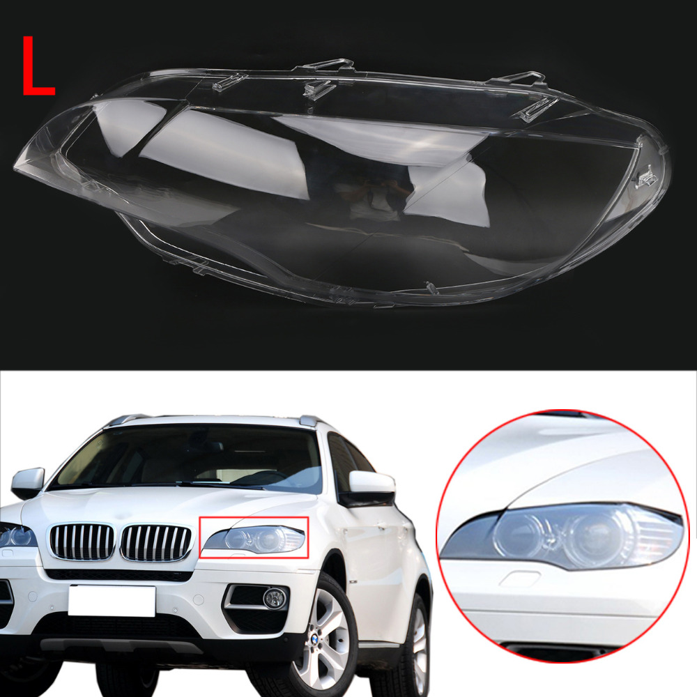 Left Side Car Headlight Cover Plastic Lampshade Clear Lens Lamp Assembly for BMW X5M X6 E71 M Sport / xDrive 2008 - 2014 N002-L carbon fiber car rear bumper extension lip spoiler diffuser for bmw x6 e71 e72 2008 2014 xdrive 35i 50i black frp