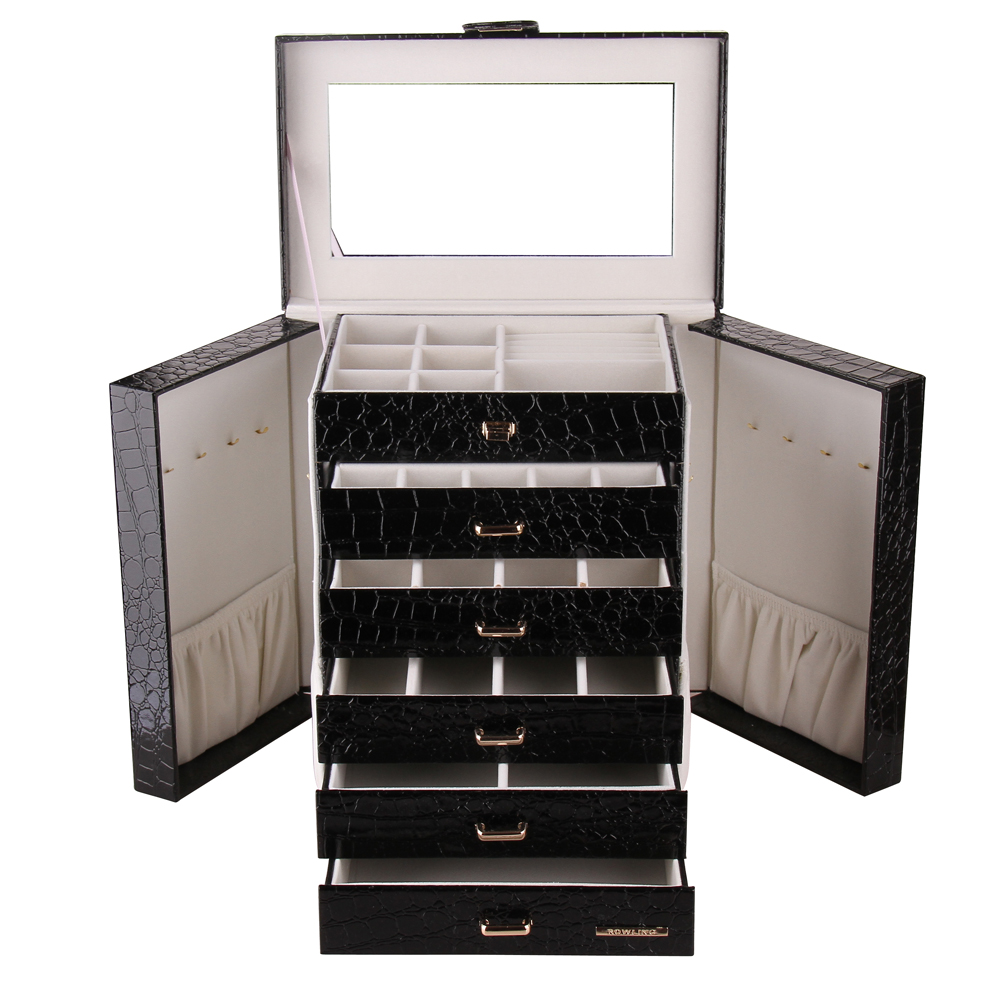 Black Large Jewelry Box Watch Case Beads Earing Rings Jewelry Armoire Storage Case Crocodile Leather Trinket Organizer 5 Drawers