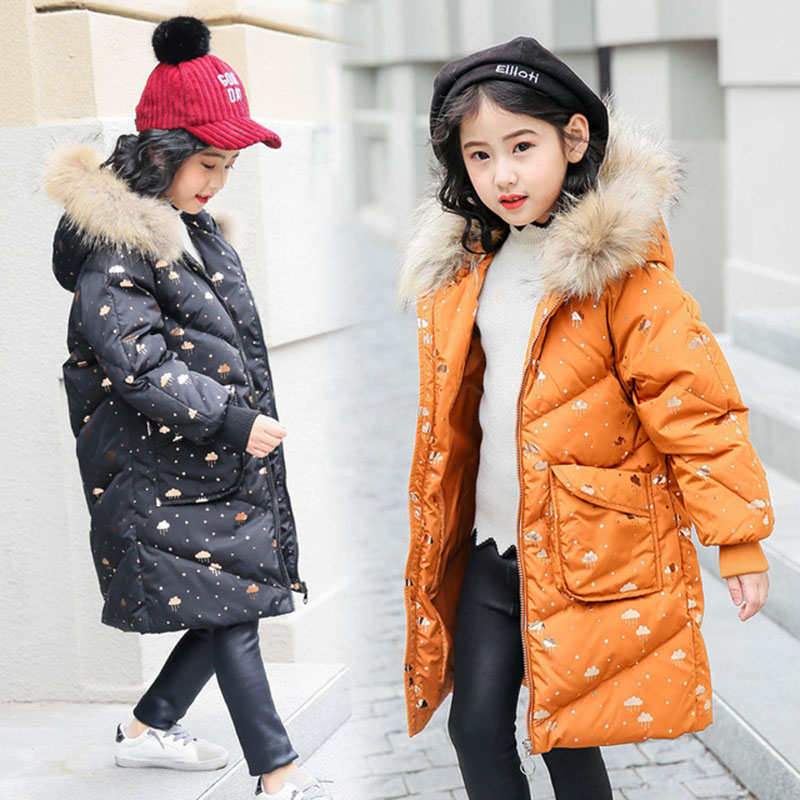 -30 Degree Thick Warm Down Jackets New Winter Girls Duck Down Coats Fashion Children Fur Long Hooded Outerwear 5 7 9 11 13 Years 2018 children down jacket girls winter long section kids clothing thick coat 30 degree warm outerwear for 7 9 10 11 13 years