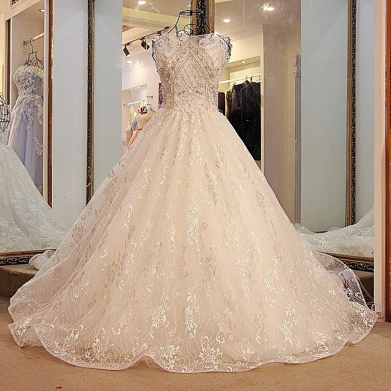 Ivory Lace Bodice Ball Gown Wedding Dress With Sheer Long: Backlake Wedding Dress With Long Train Corset Ball Gown