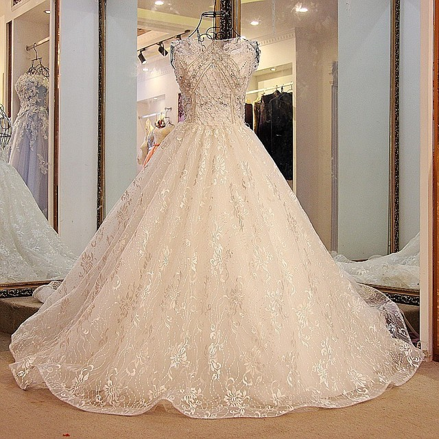 6985f307c2e Backlake wedding Dress with Long Train Corset Ball Gown Tulle Beaded Puffy Ivory  Lace Crystal Bridal