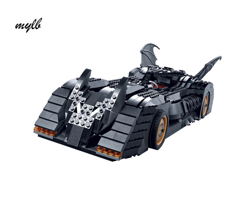 mylb The Tumbler BatMobile Compatible Super Heroes Batman Building Blocks Toys For Children DIY dropshipping back to the future super heroes skeleton boy doc brown and marty mcfly with skateboard building blocks toys for children kf198