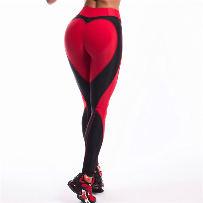 Hot! Heart Shape   Leggings   Women New Black Red Patchwork Sporting Leggins Ladies Push Up Workout Fitness Elastic   Legging   Pants