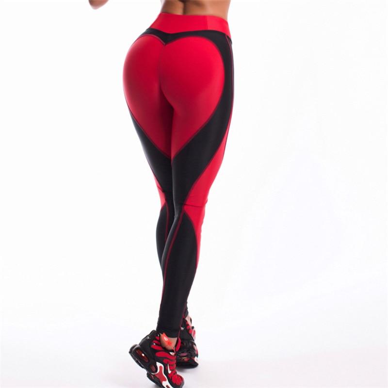 Fitness Leggings Damen Blickdicht: Hot! Herzform Leggings Frauen Neue Schwarz Rot Patchwork