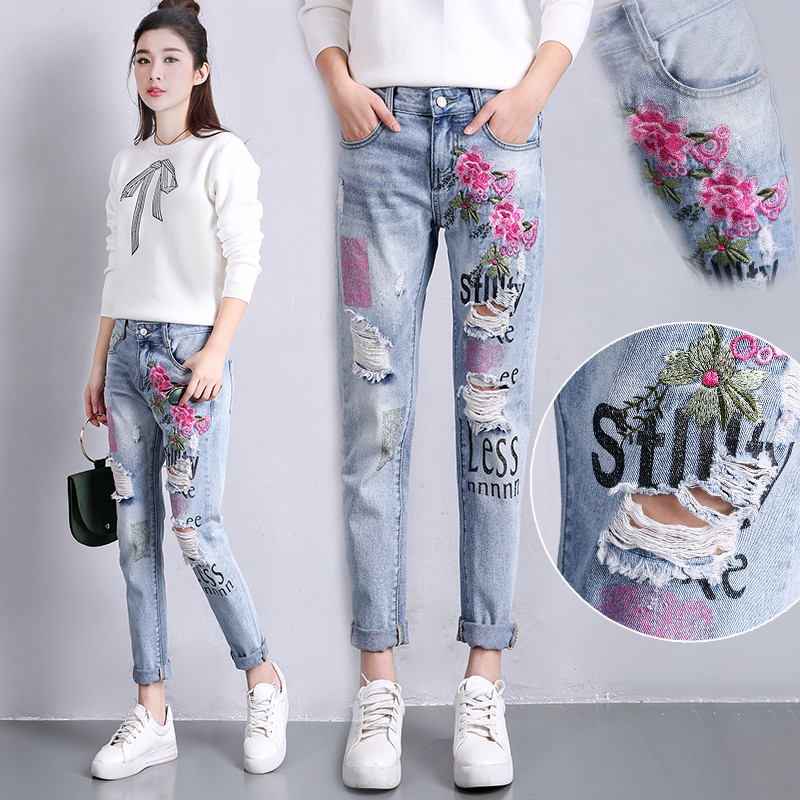 NEW Flowers Embroidered Cowboy Harem Pants 2017 Spring And Summer Loose Holes Jeans Woman High Waist Denim Boyfriend Jeans C3077