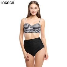 INGAGA 2017 Bikini Set Swimwear Women Sexy High Waist Swimsuit Push Up Swim Suit Striped Strap Summer Bathing Suit