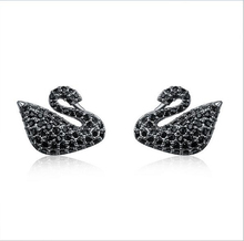 PhoenRing Perfect classic AAA level Micro CZ zircon Party Mysterious swan stud eaarings For women jewelry