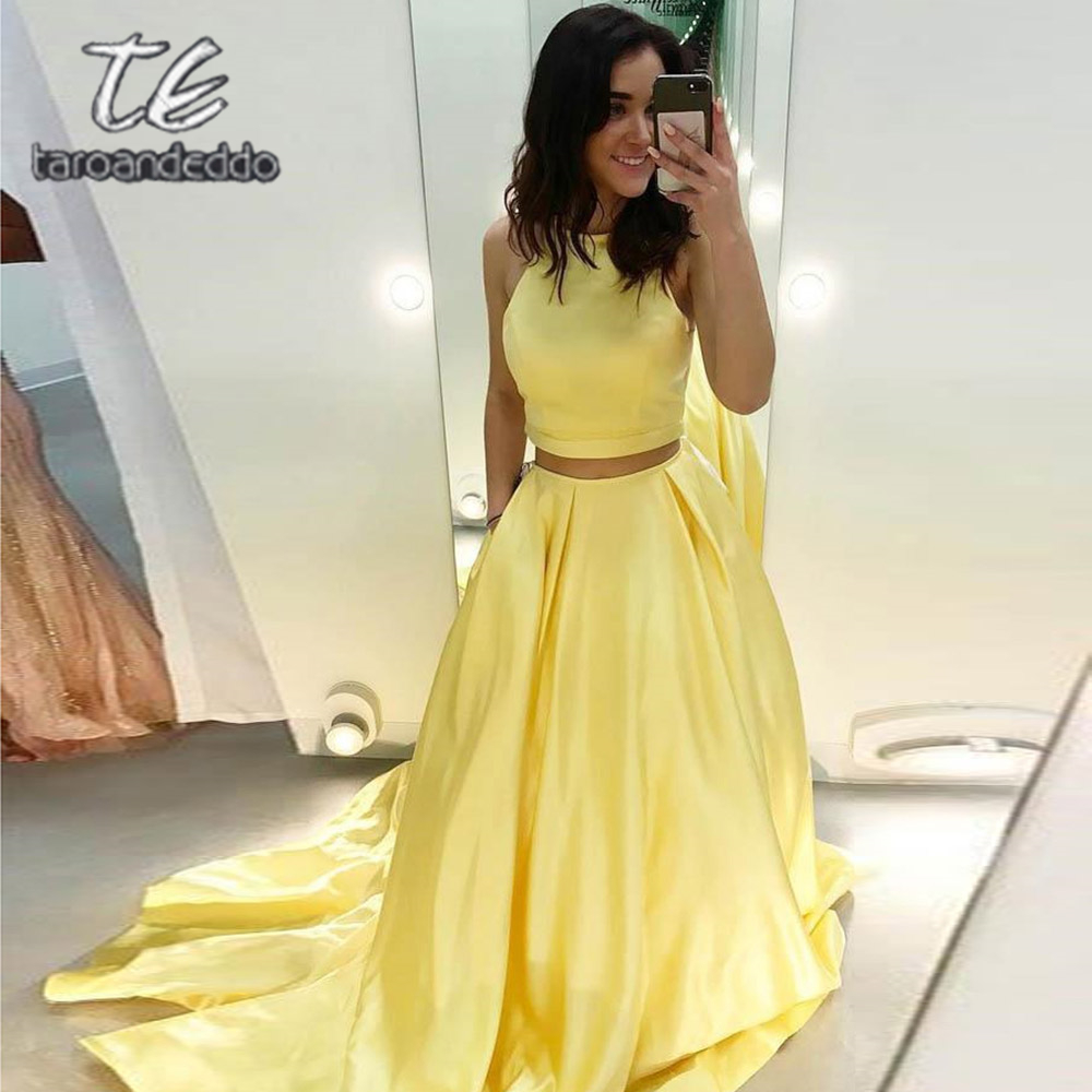 Two Pieces Yellow   Prom     Dresses   Floor Length Open Back A Line Sweep Train Satin Evening Formal Party   Dress   Vestido De Fiesta