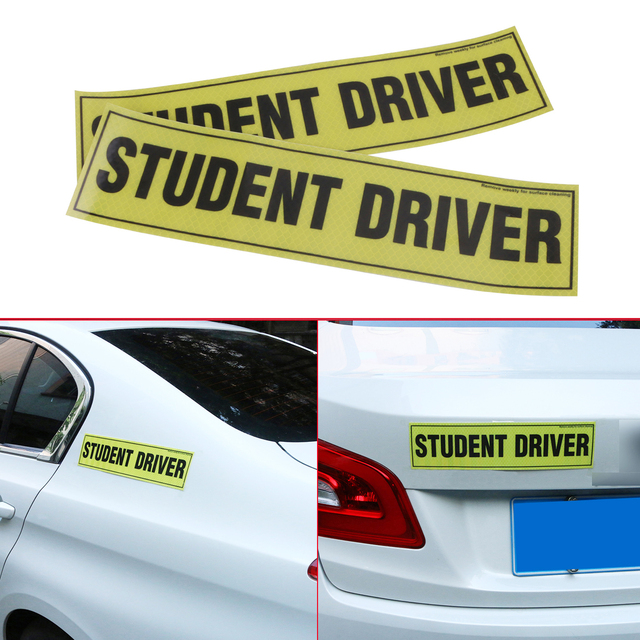 2pc removable magnetic student driver reflective vinyl decal funny bumper stickers magnetic vehicle car sign sticker