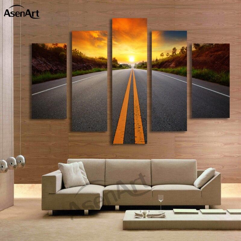 Aliexpress.com : Buy 5 Panel Sunset Landscape Painting