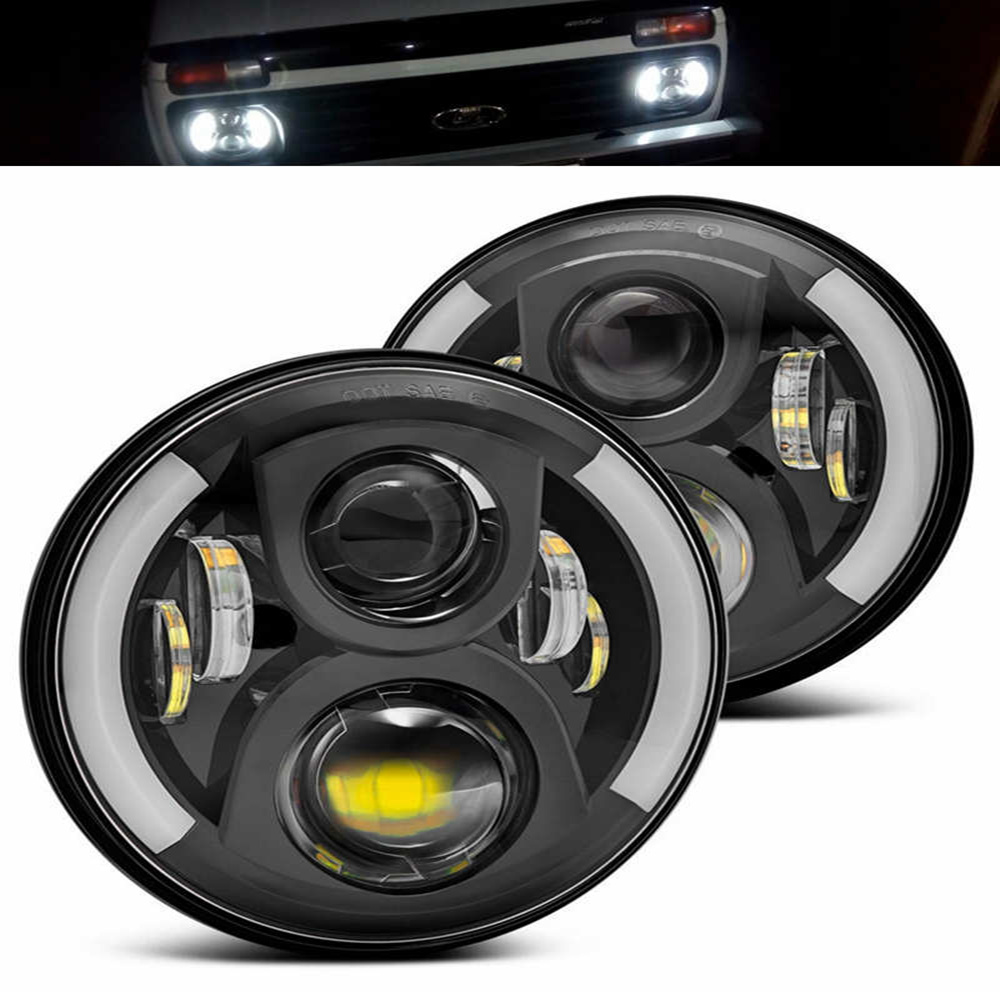 Pair of Chrome Black 7 inch LED Headlights Replacement For Jeeps Wrangler JK 2 Door 4