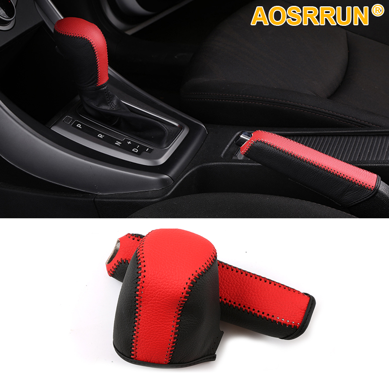 AOSRRUN Car Decoration leather hand brake Cover and Gear Cover For Hyundai Elantra 2011-2013 Car accessories