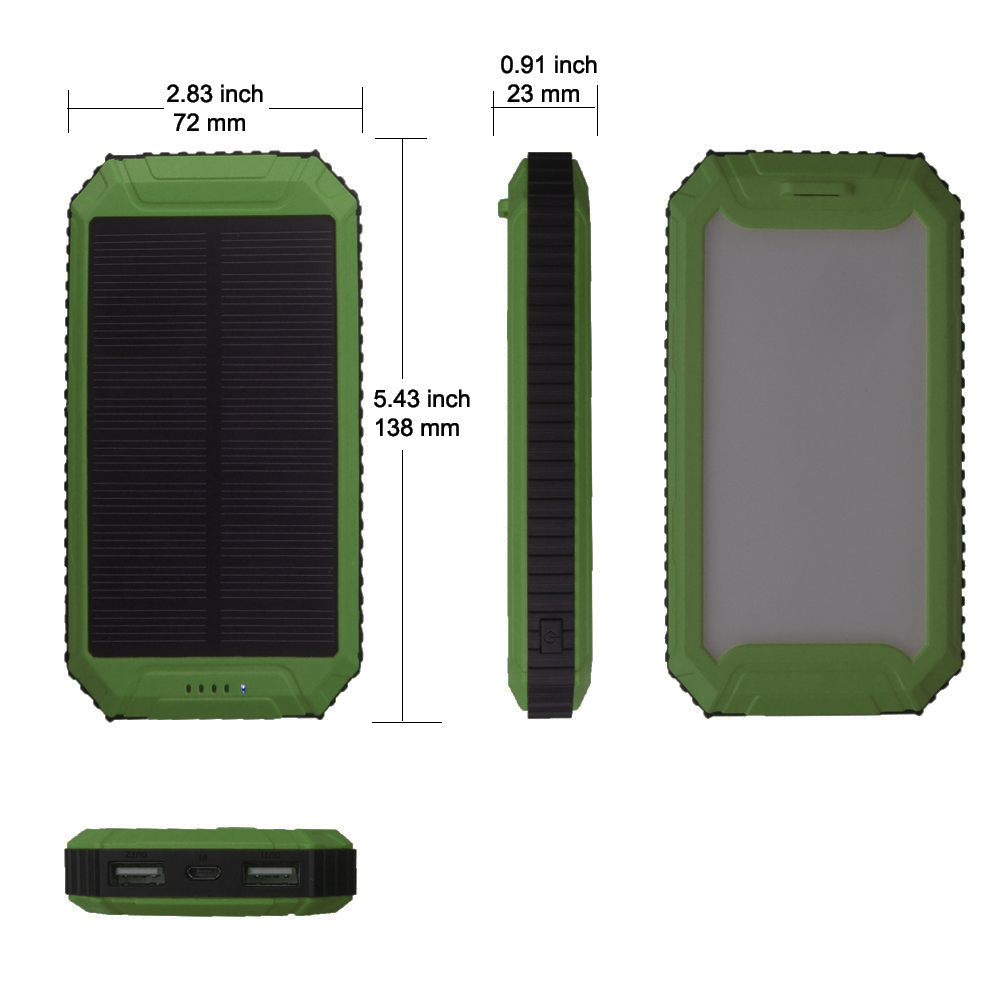 LED-design PowerGreen Mini Solar Panel Dual Ports Solar Battery Quick - Mobiltelefon tilbehør og reparation dele - Foto 2