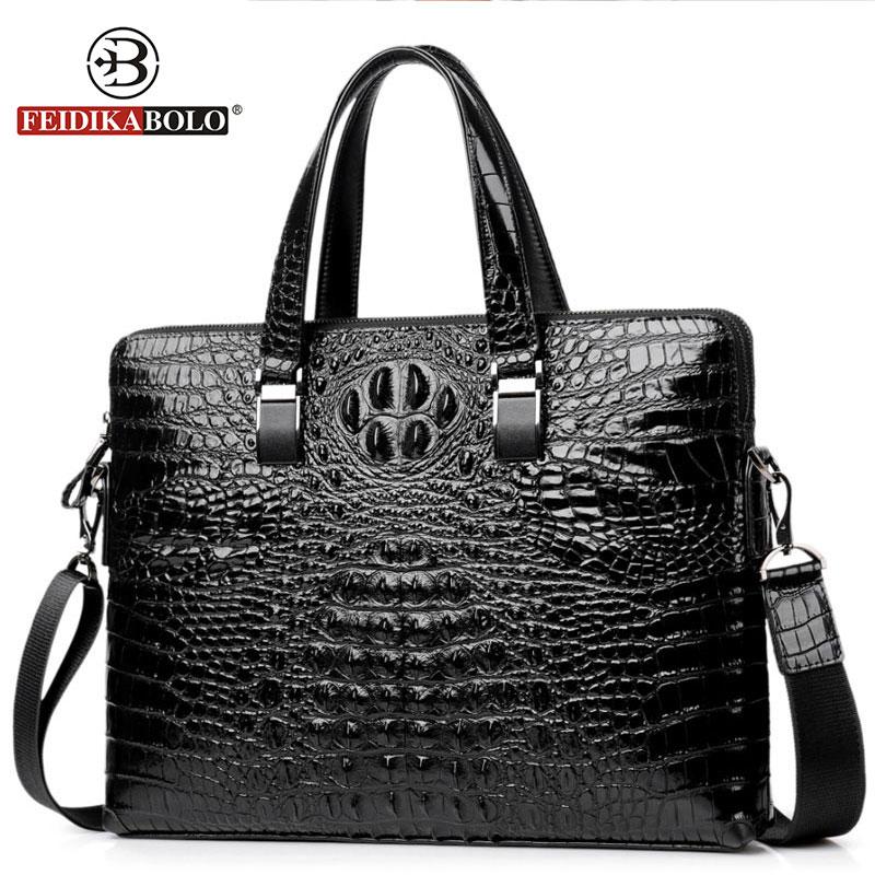 NewFashion Shoulder Bags Alligator Crossbody Satchel Man Tote Bag Messenger Bags Men Handbags Famous Genuine Leather Briefcase все цены