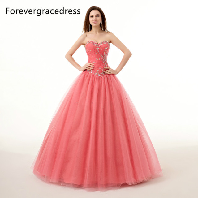 afab81d9975 Forevergracedress Real Images Coral Color Quinceanera Dress New Beads  Sweetheart Long Lace Up Back Formal Party Gown Plus Size