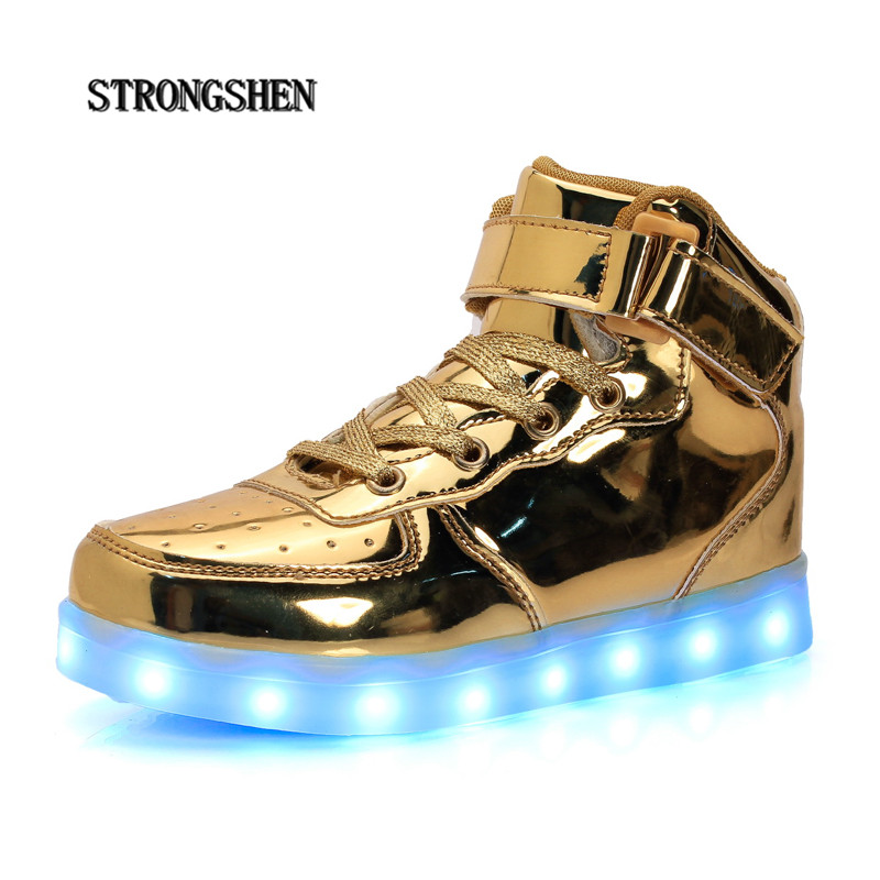 STRONGSHEN 2017 Fashion USB charging Kids Sneakers Fashion Lighted Colorful LED lights Children Shoes Casual Flat Boy girl Shoes