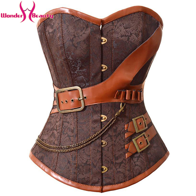2016 New Fashion Brown Brocade Corset And Bustiers Gothic Steampunk Women's Lingerie Overbust Free Shipping