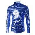 Мужская Мода Досуг Плюс Размер Stage Dance Платье Рубашка Slim Fit Мужчины Рубашки Блестящий Длинным Рукавом Роскошный Черный Сорочка Homme