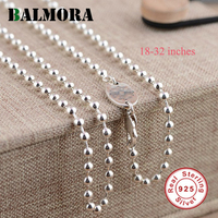 BALMORA 100 Real Pure 925 Sterling Silver Jewelry Necklaces For Women 925 Silver Chains Gifts High