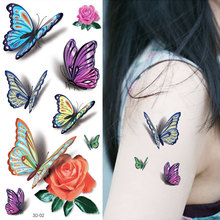 Wyuen 3D Flower Butterfly Women Temporary Tattoo Stickers Large Hand Fake Tatoo Designs 3D-02