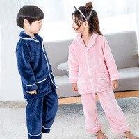 Winter Warm Flannel Children Sleepwear Robe Brand Pajama Sets for Boys Kids Sleepwear Sets Top+Pant 2pcs Suits Girls Pajama Sets
