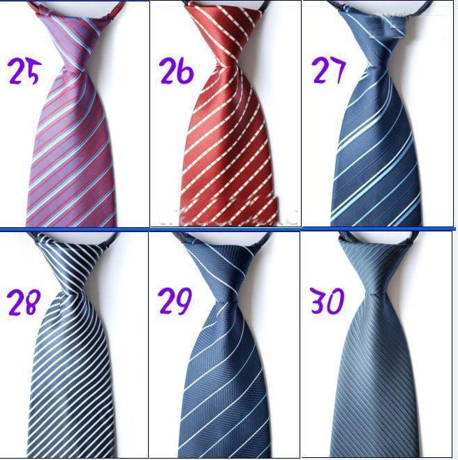 Nice Zip-Up Men's Ties Ties Necktie Mixed Striped Men's Tie Neckties Dress Cravat 24pcs/lot Hot Sale