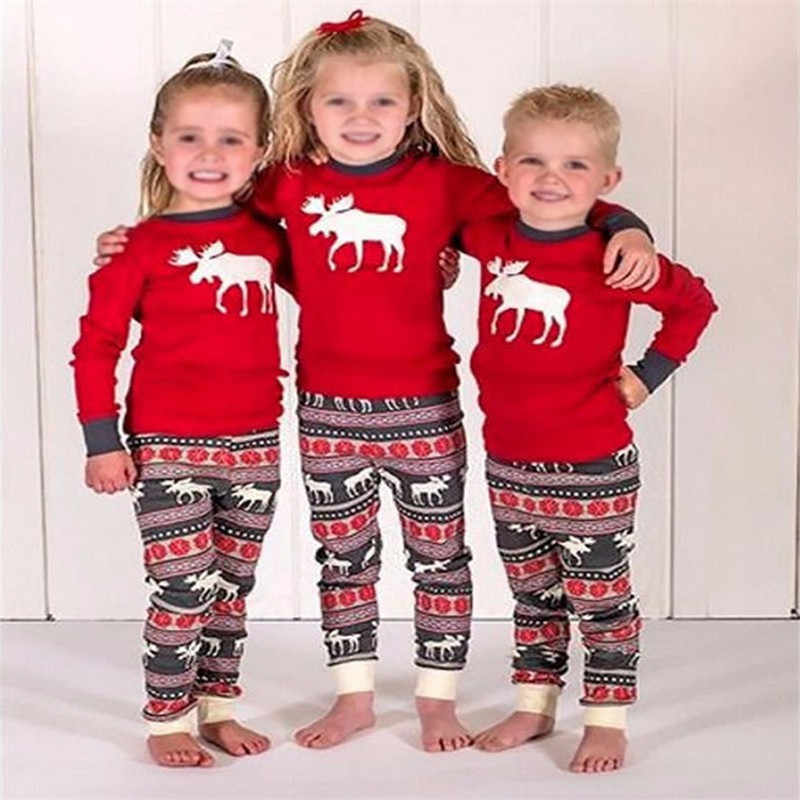 55b969a1e ... 2018 New Christmas Mom Dad Baby Kids Family Matching Clothes Sets for  Girls Boys Cartoon Deer ...